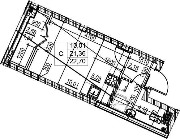 Студия, 24.04 м²