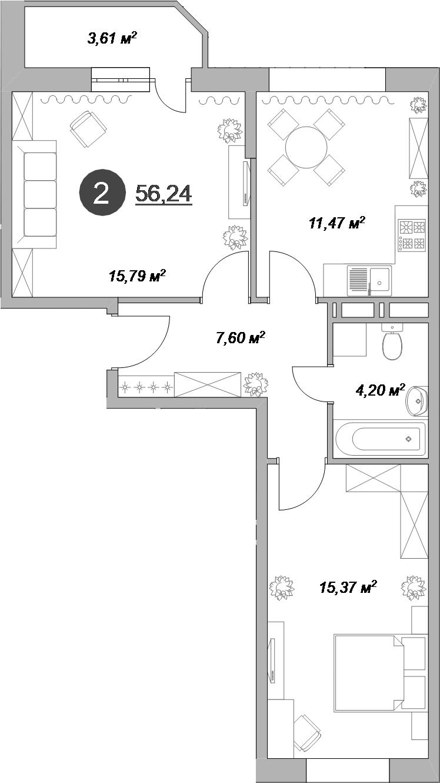 2-к.кв, 58.04 м²