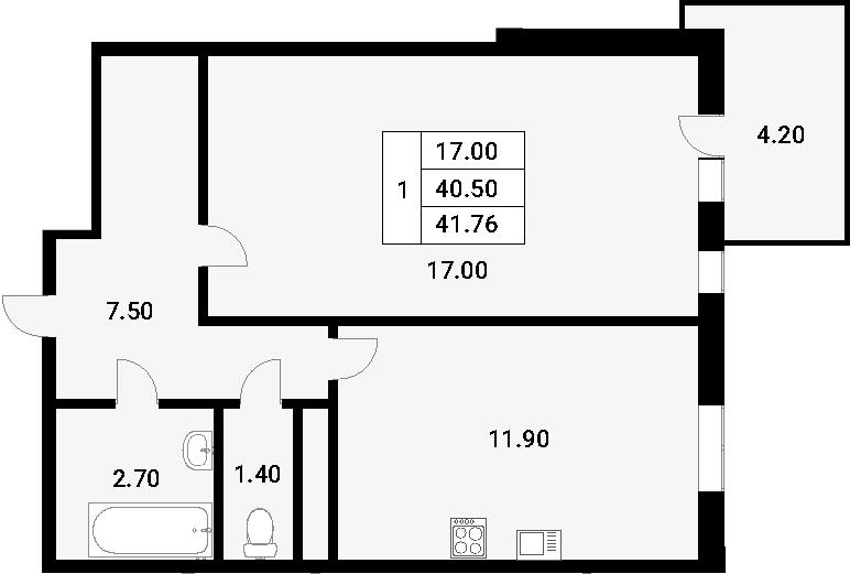 1-к.кв, 44.7 м²