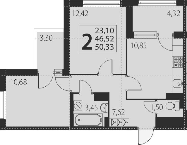 2-к.кв, 54.14 м²