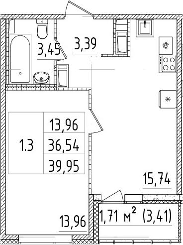 2Е-комнатная, 36.54 м²– 2