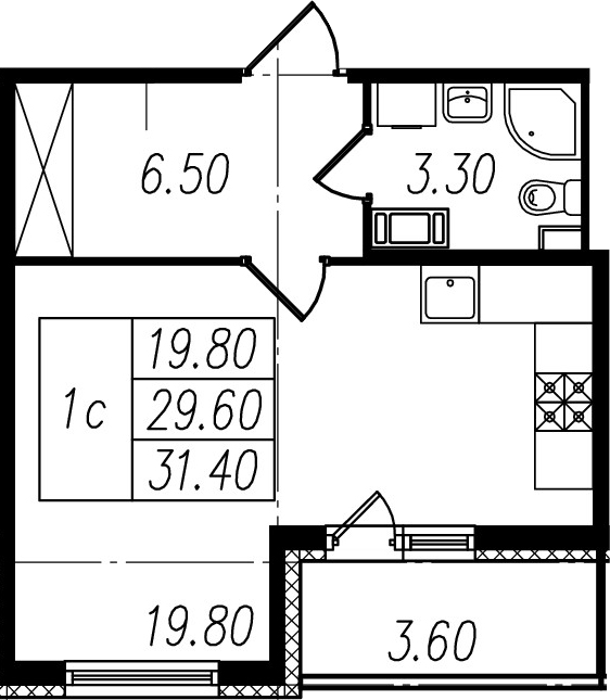 Студия, 33.2 м²