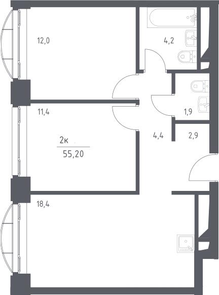 3Е-к.кв, 55.2 м², 5 этаж