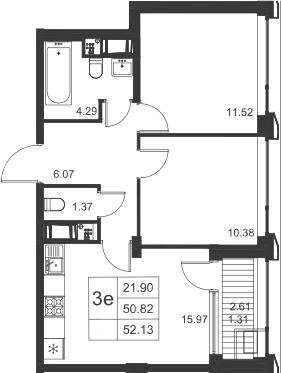 3Е-к.кв, 52.13 м²