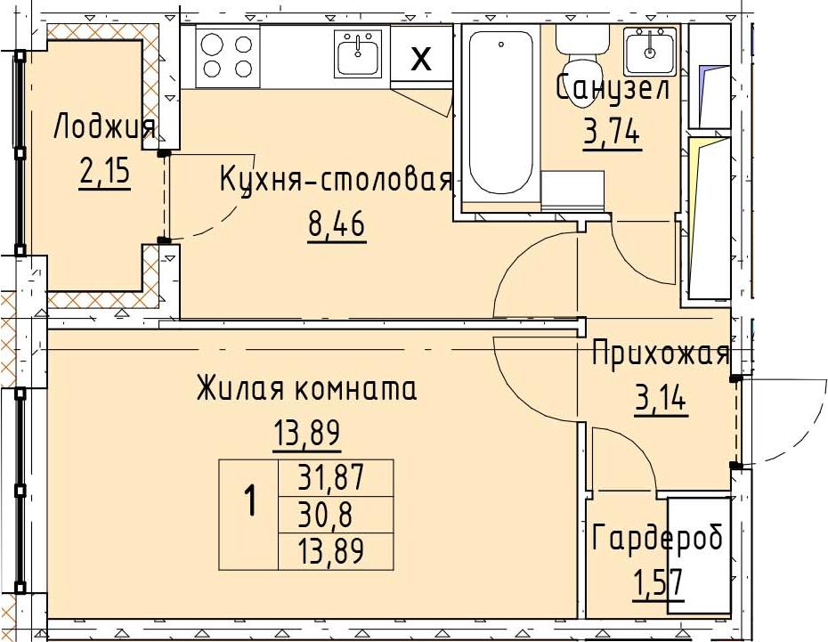 1-к.кв, 31.88 м²