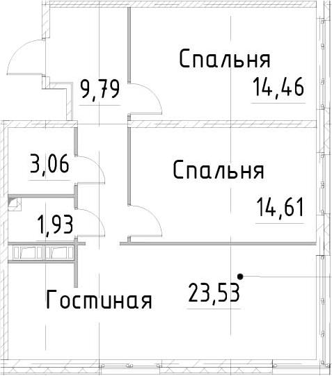 3Е-к.кв, 67.37 м², от 17 этажа