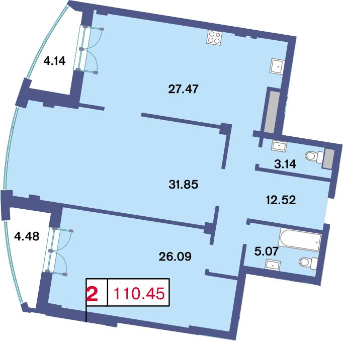3Е-комнатная, 110.45 м²– 2