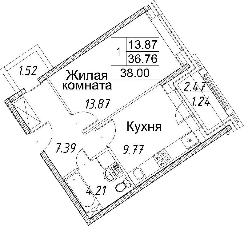 1-к.кв, 39.24 м²