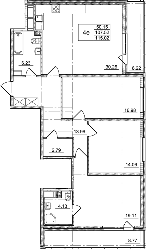4Е-комнатная, 107.52 м²– 2