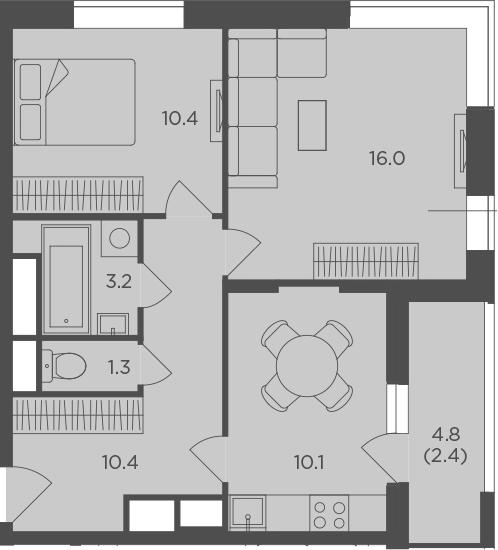 2-комнатная, 53.7 м²– 2