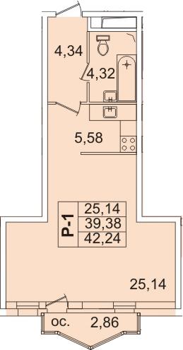 Студия, 42.3 м²