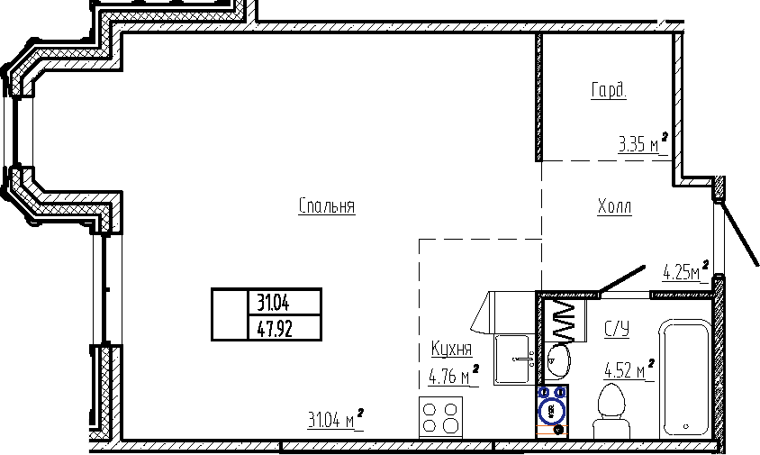 Студия, 47.92 м²