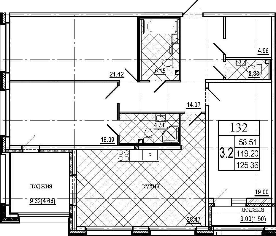 4Е-к.кв, 125.36 м², 1 этаж