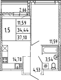 2Е-комнатная, 37.1 м²– 2