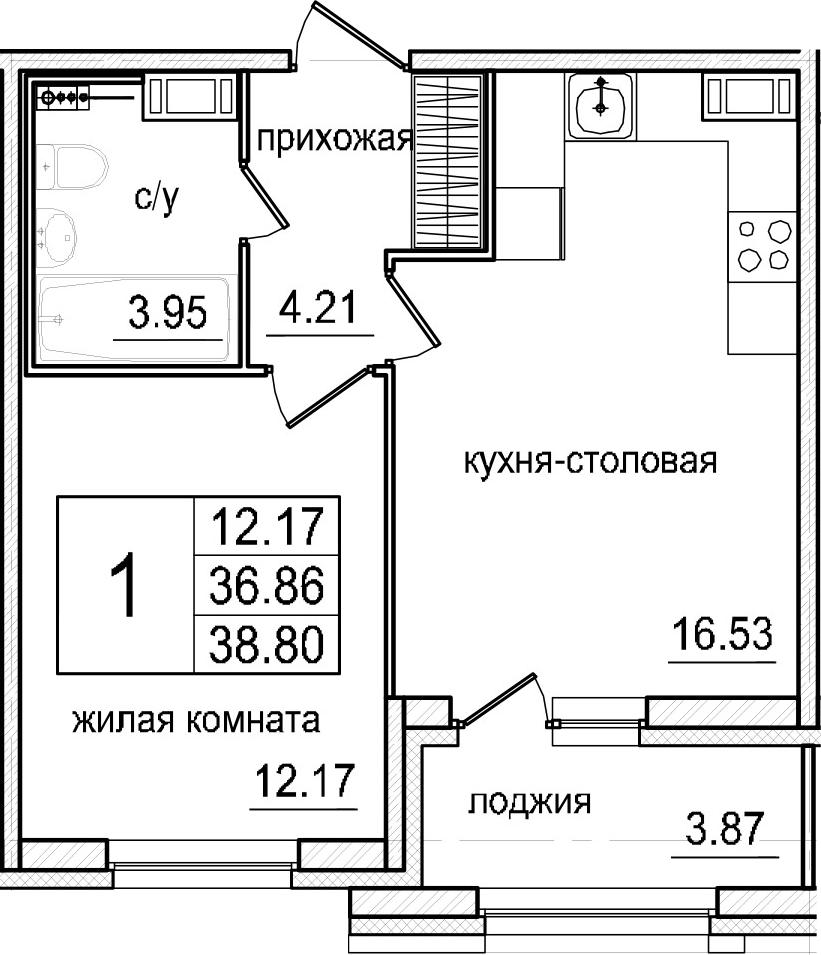 2Е-комнатная, 38.8 м²– 2