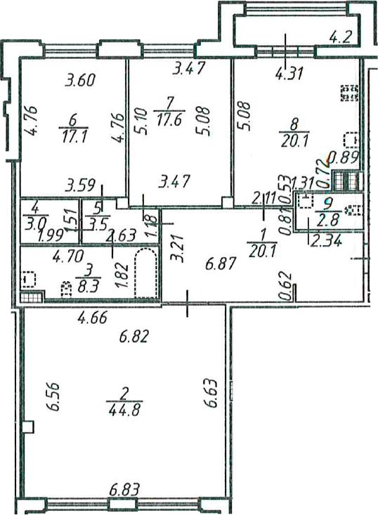 3-к.кв, 139.4 м²