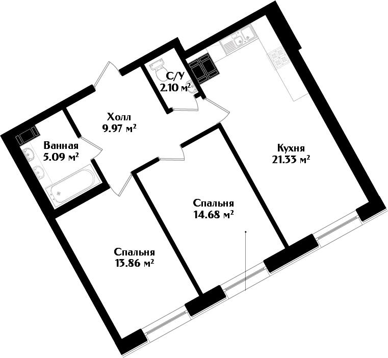 3-к.кв (евро), 67.03 м²