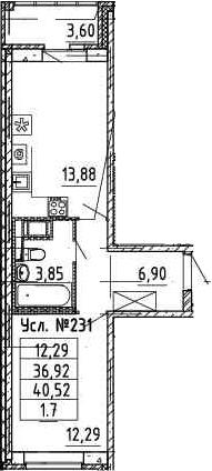 2-к.кв (евро), 40.27 м²