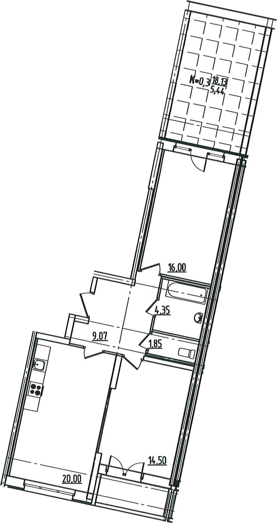 3-к.кв (евро), 87.48 м²