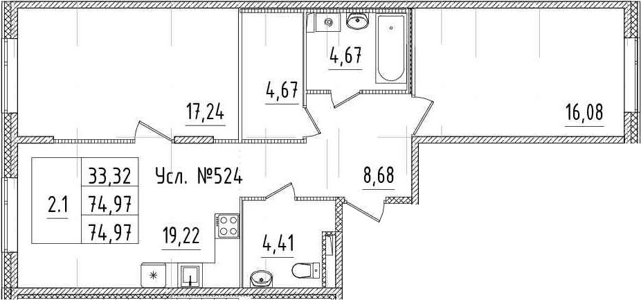 3-к.кв (евро), 74.97 м²