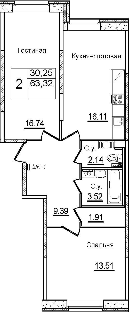3Е-к.кв, 63.32 м²