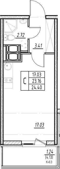 Студия, 27.29 м²