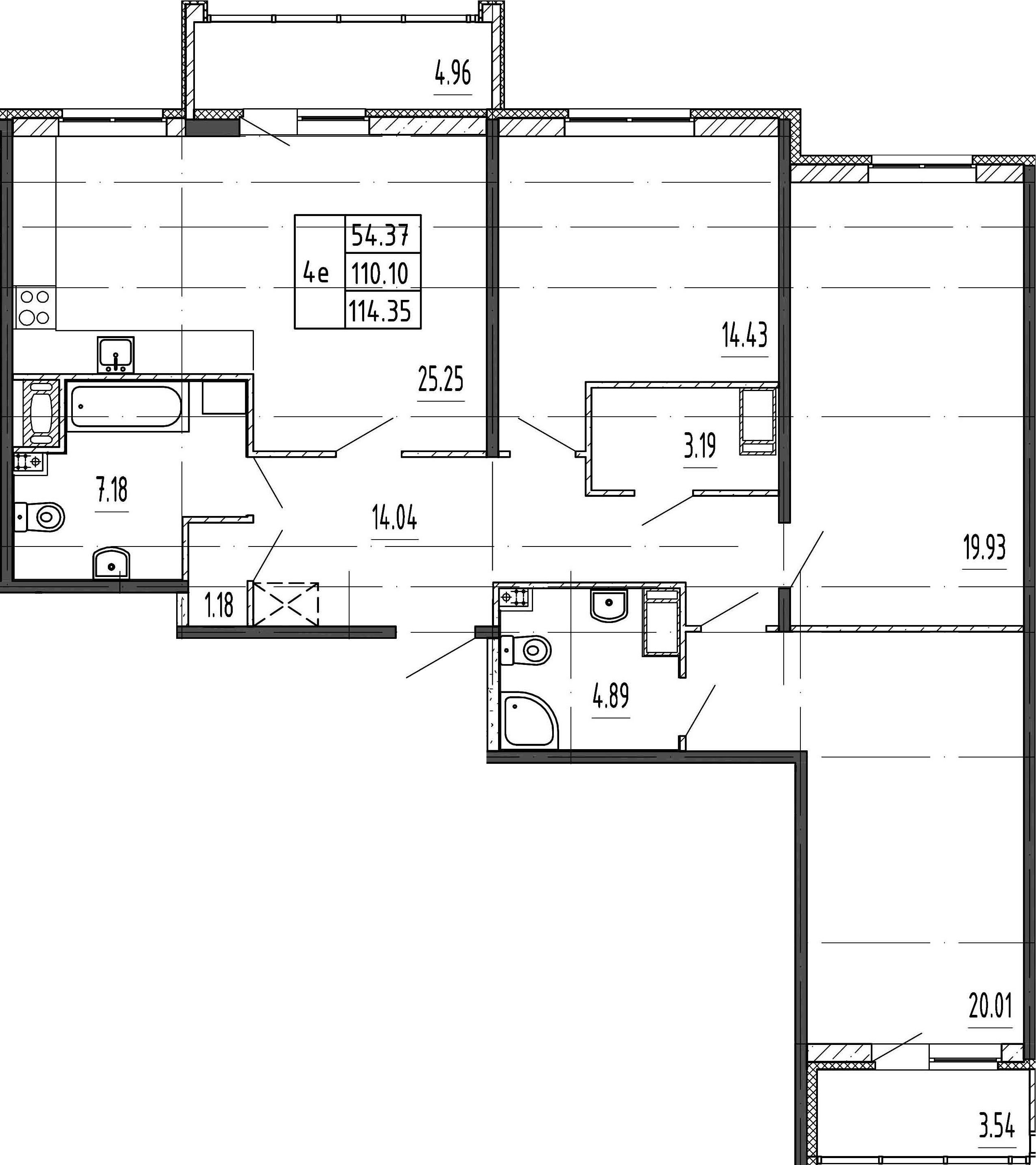 4Е-комнатная, 110.1 м²– 2