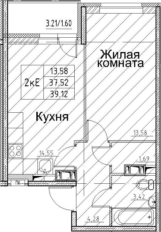 2-к.кв (евро), 40.72 м²