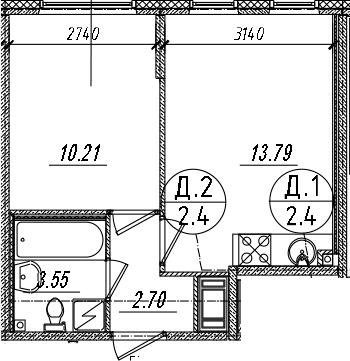 2Е-комнатная, 30.25 м²– 2