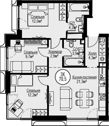 4Е-к.кв, 70.5 м², 10 этаж