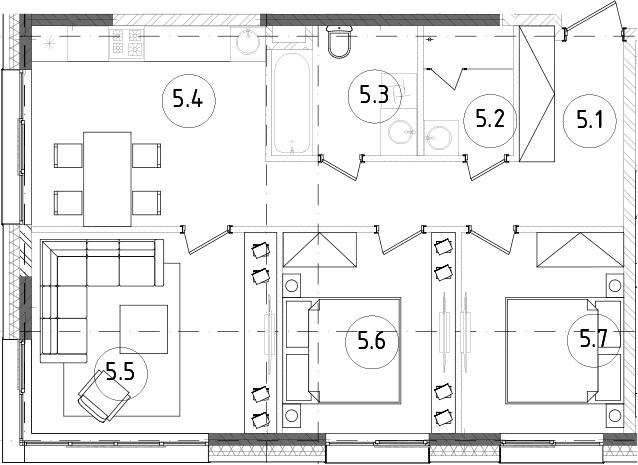 3-к.кв, 65.81 м²