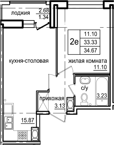 2Е-к.кв, 34.67 м², 2 этаж