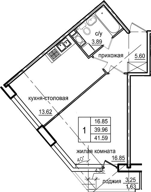 1-к.кв, 43.22 м²