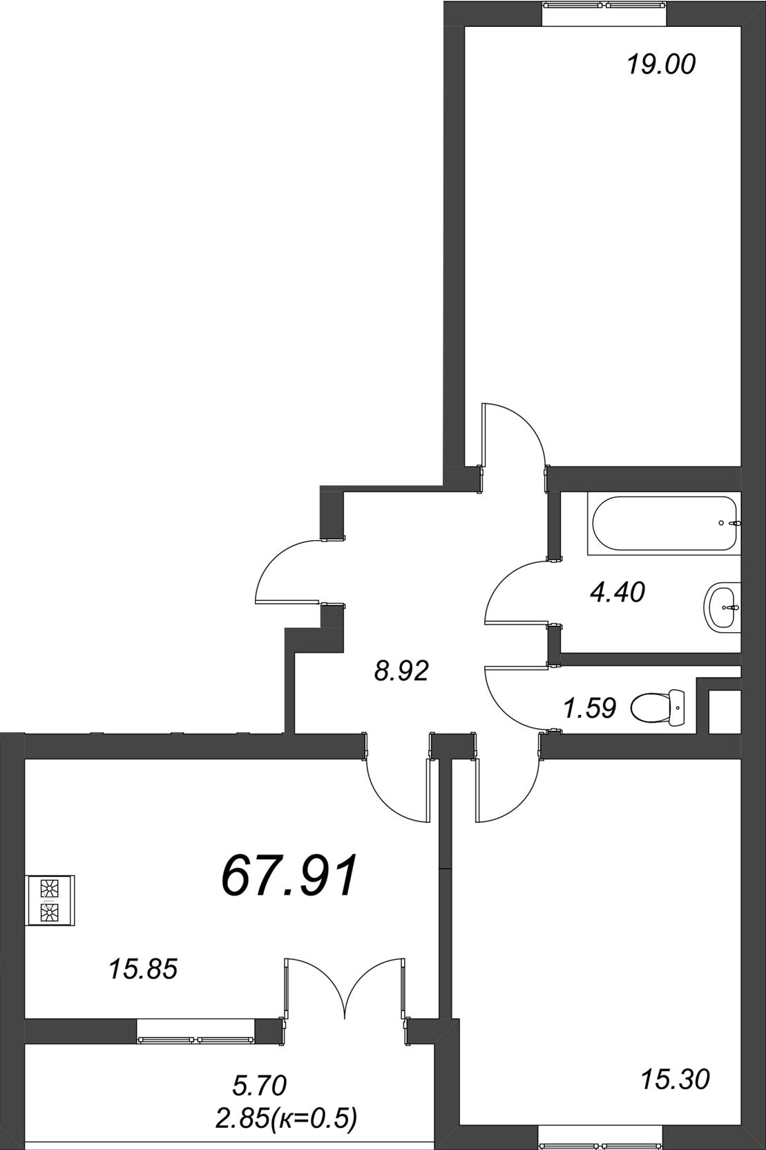 3-к.кв (евро), 70.76 м²