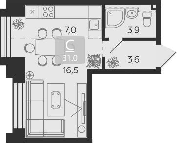 Студия, 31 м²– 2