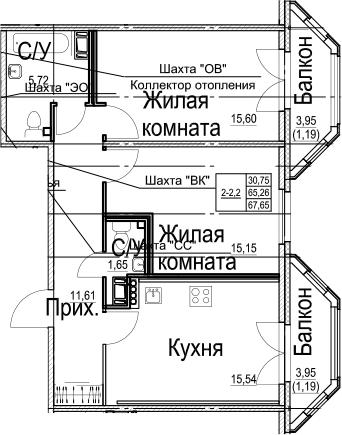 2-к.кв, 67.65 м², 5 этаж