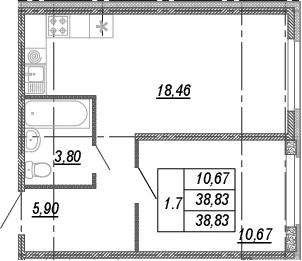 2Е-комнатная квартира, 38.83 м², 2 этаж – Планировка