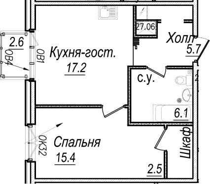 2-к.кв (евро), 49.57 м²