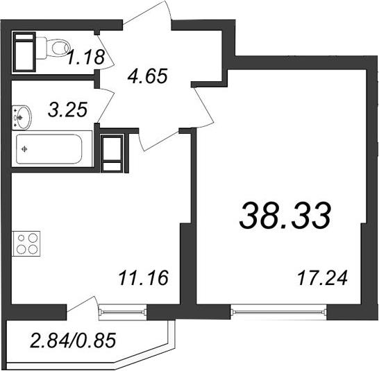 1-к.кв, 40.31 м²