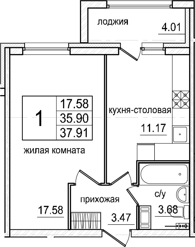1-к.кв, 39.91 м²