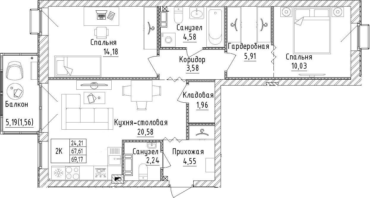 2-комнатная, 69.17 м²– 2