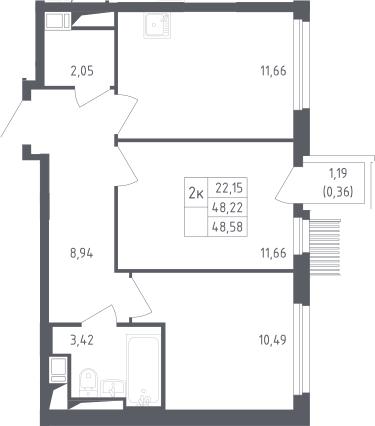 2-комнатная, 48.58 м²– 2