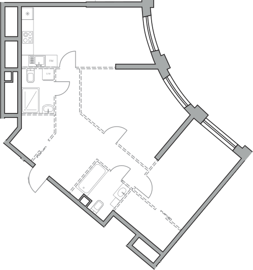 Свободная планировка, 83.38 м², 22 этаж – Планировка