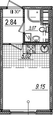Студия, 20.08 м², 6 этаж