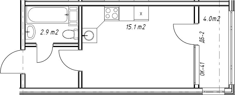 Студия, 21.5 м²– 2