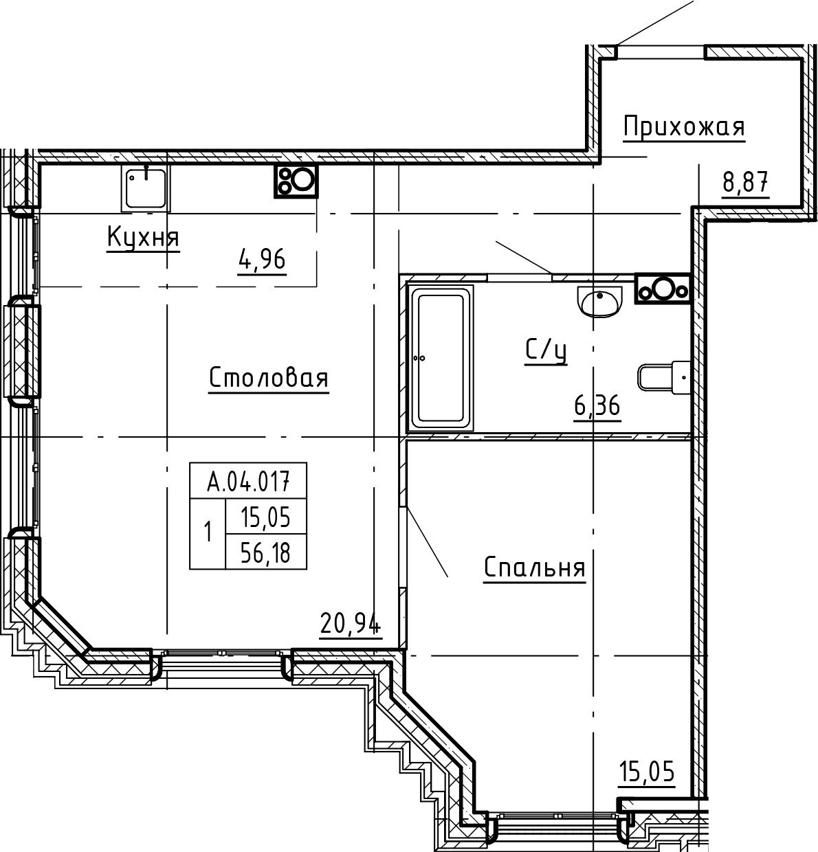 2Е-комнатная, 56.18 м²– 2