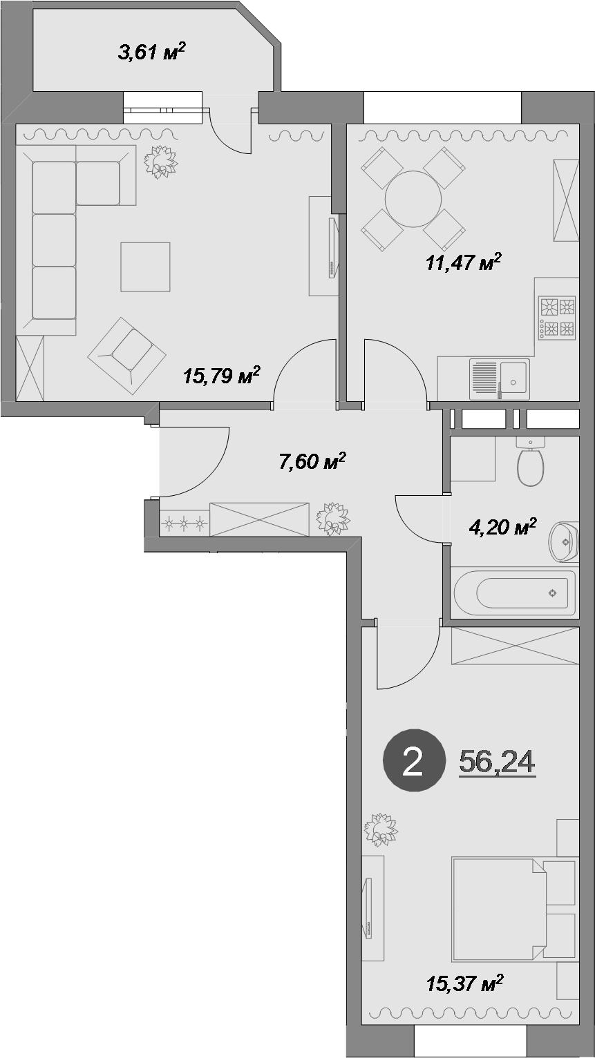 2-к.кв, 56.24 м², 1 этаж