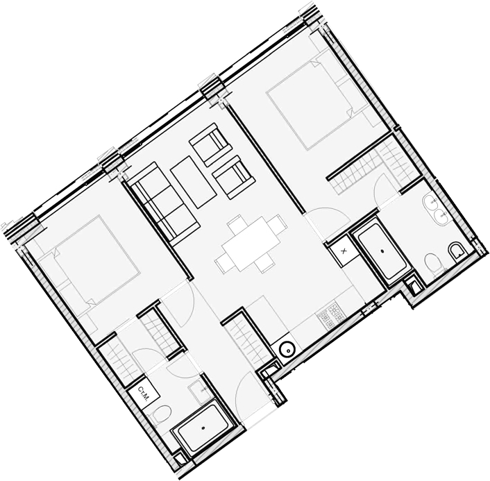 Свободная планировка, 59.43 м²– 2