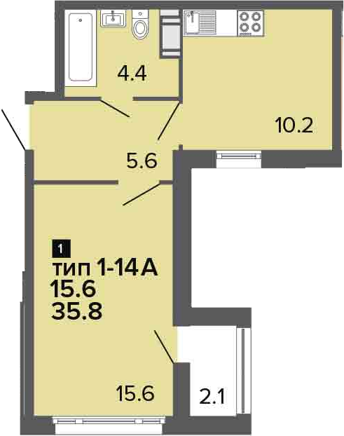 1-к.кв, 37.9 м²