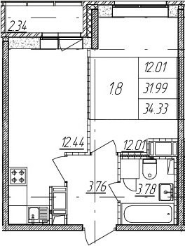 2-к.кв (евро), 34.33 м²
